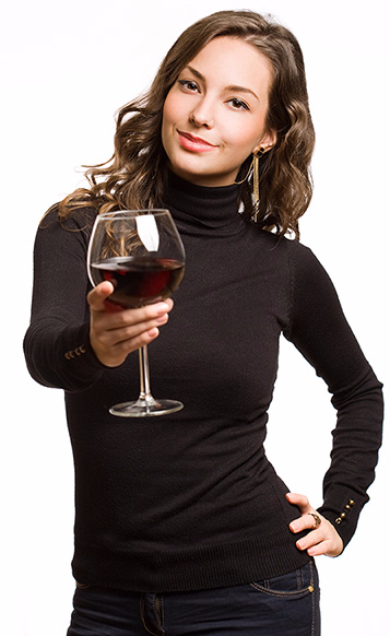 Lady toasing with wine